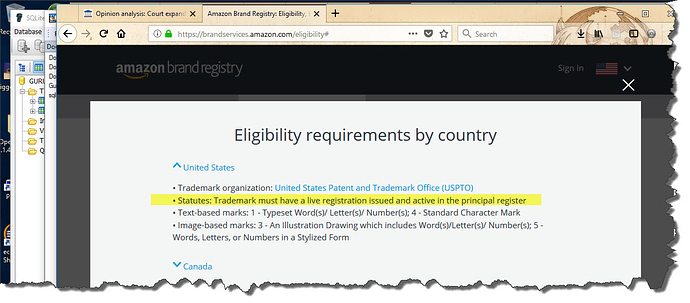 search amazon brand registry