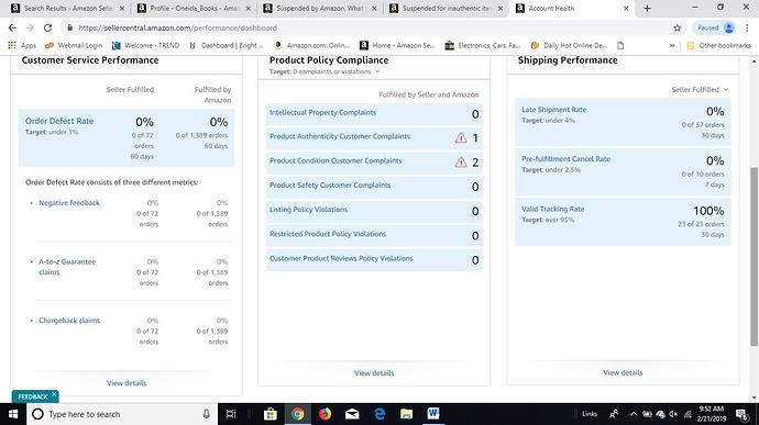 Account Status  Screenshot