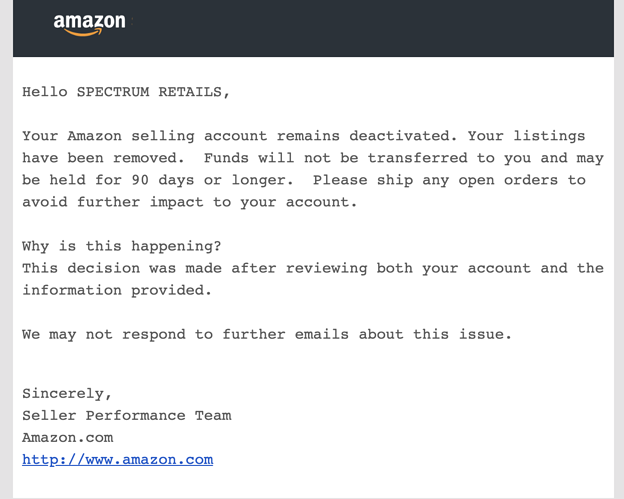 New seller account suspended due to linking of account with another