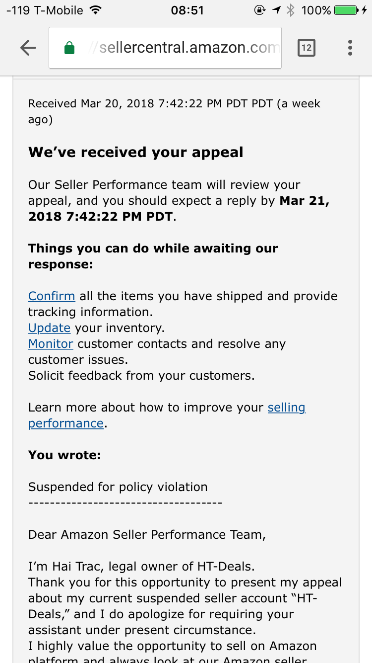 6ef4e975db04 How long it takes Seller Performance Team to respond to my appeal ...