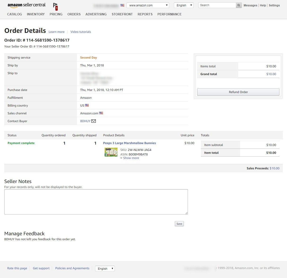 AMAZON SELLER CENTRAL INVOICES