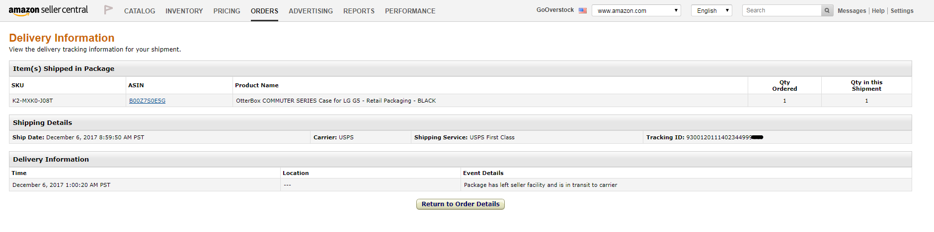 Customer claiming INR from order placed on 5/8 - USPS tracking for