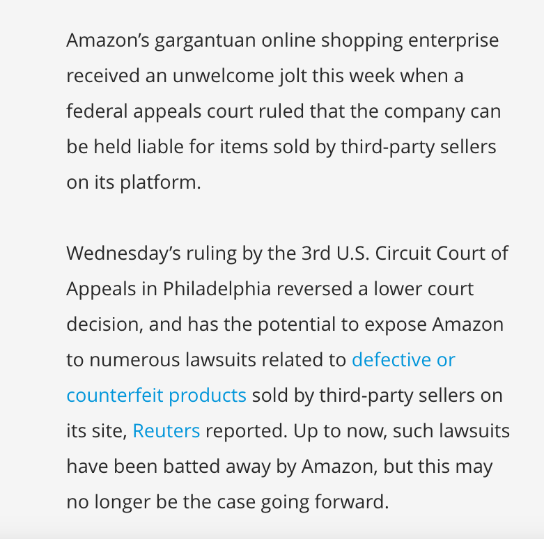 New Federal Court Decision Should Be >> Us Federal Court 3rd Circuit Court Of Appeals Amazon Lost A Big