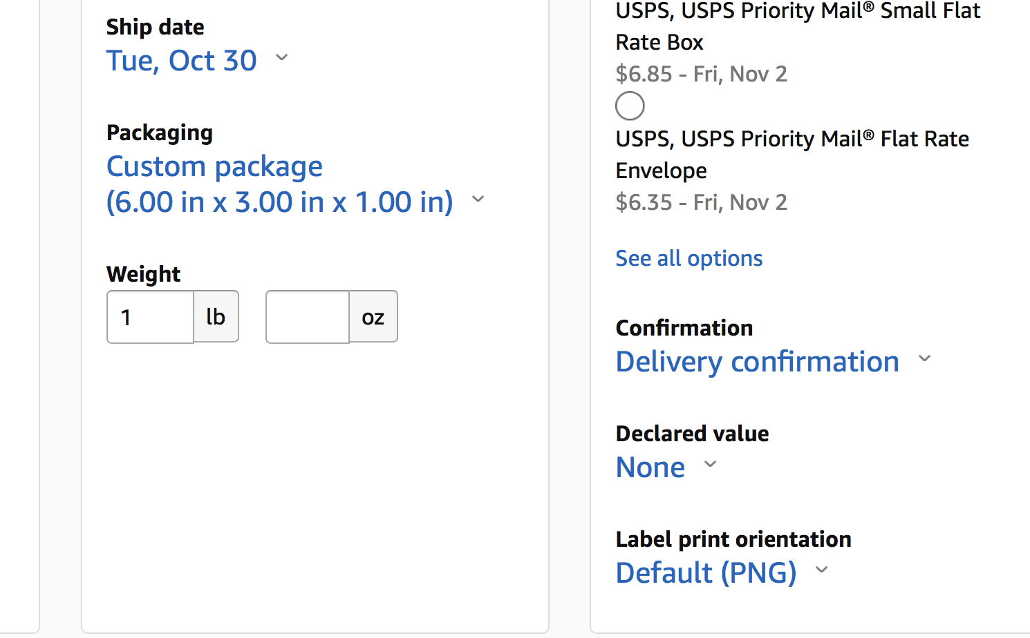 what is the package value usps