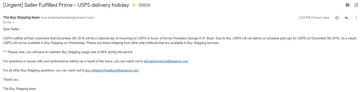 d1d1519bdc Will Amazon adjust shipping requirements for the Bush funeral ...