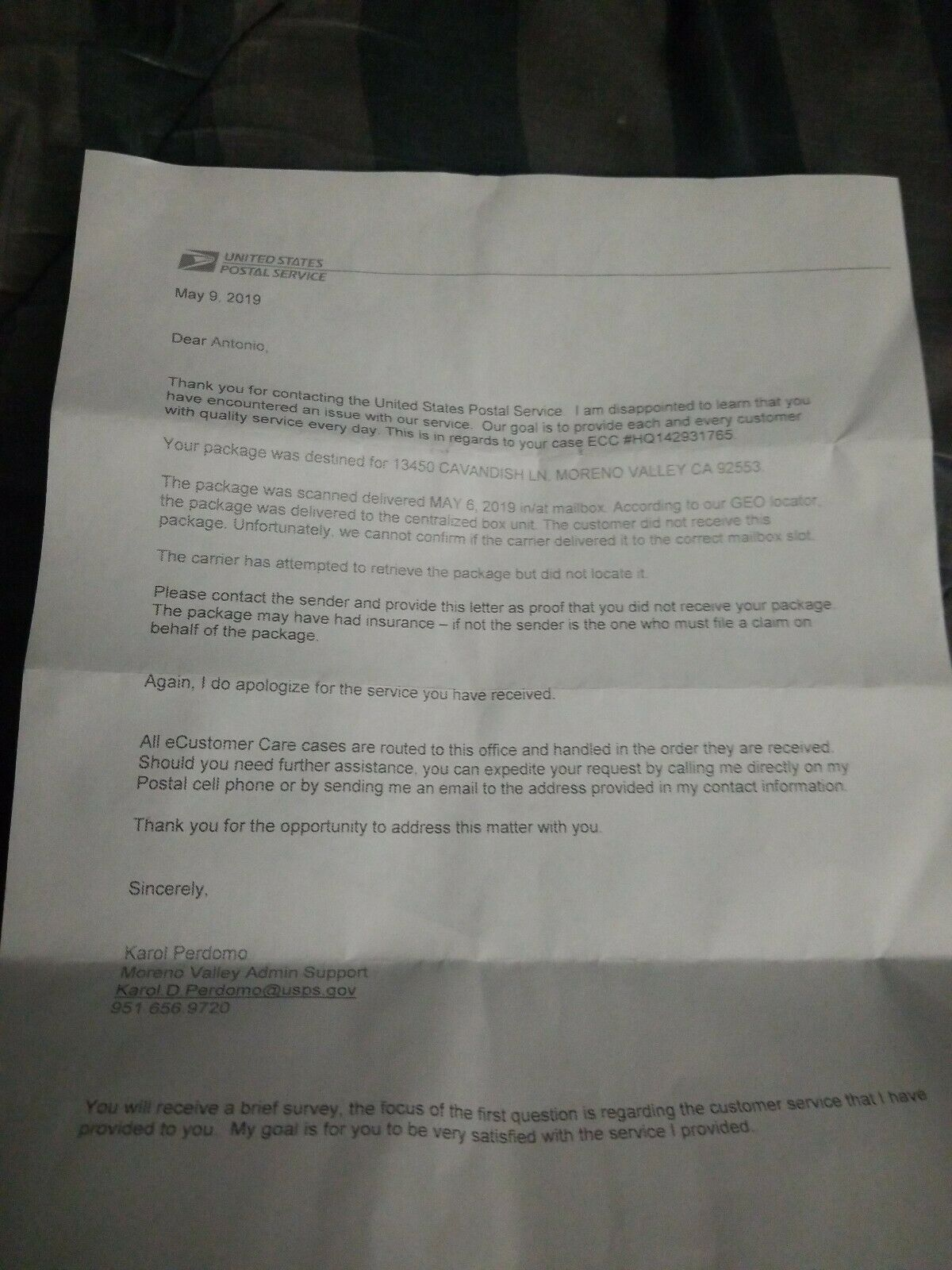 Customer Sent Me A Supposed Letter From Usps But Its Suspicious